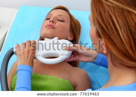 Lasr hair removal from chin - stock photo