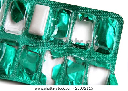 Last chance for take chewing gum in this green package - stock photo