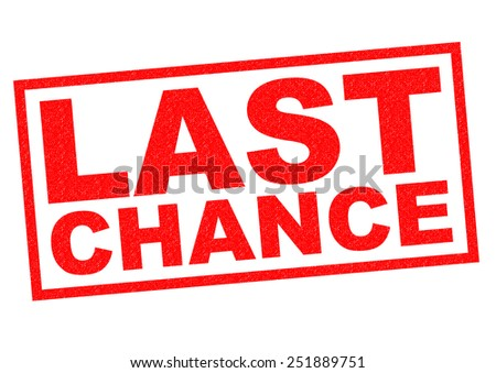 LAST CHANCE red Rubber Stamp over a white background. - stock photo