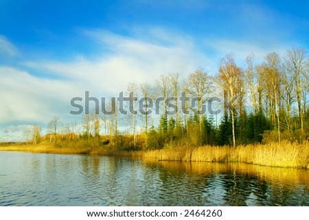 Last days of Indian summer. Helga lake in Sweden. - stock photo