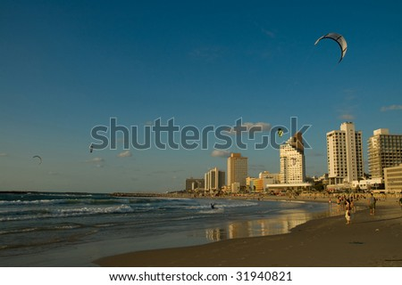 Last light hours - Tel Aviv seashore - stock photo