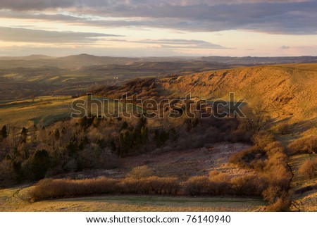 Last light on Eggardon Hill nr Askerwell, Dorset, UK