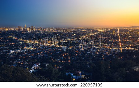 Last Light on the City, Los Angeles, California  - stock photo