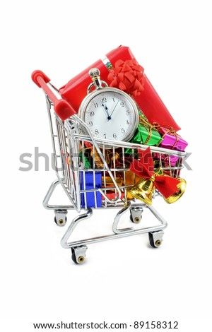 Last minute Christmas shopping in a trolley - stock photo