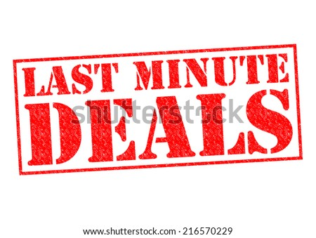 LAST MINUTE DEALS red Rubber Stamp over a white background. - stock photo