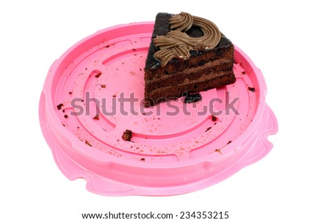 Last piece of chocolate cake decorated with cream - stock photo