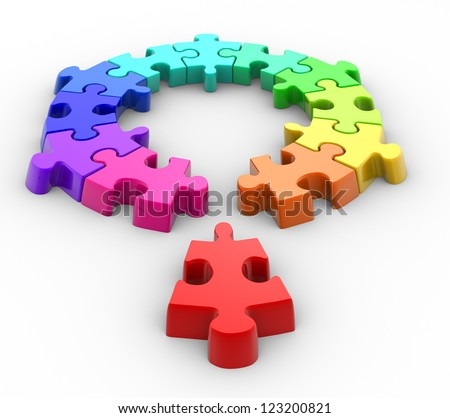 Last piece of puzzle( jigsaw). 3d render - stock photo