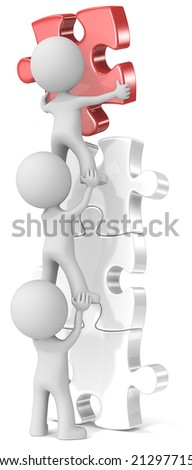 Last piece. The dude x 3 putting last piece on puzzle tower. Red. - stock photo