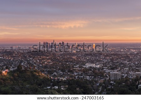 Last rays of afternoon light illuminating downtown Los Angeles, California.  - stock photo