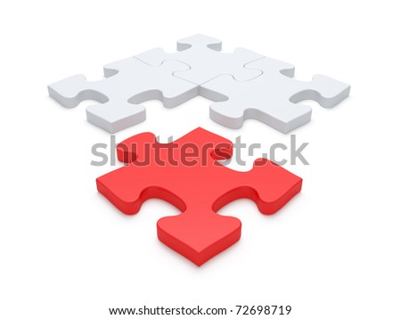 Last Red jigsaw puzzle piece