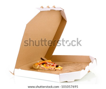 Last slice of tasty pizza in box close-up isolated on white - stock photo