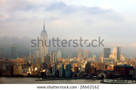 Last sunshine on New York City skyline after rain