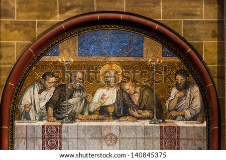 Last Supper of Christ mosaic outside a catholic church in Germany - stock photo