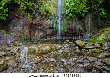 Last waterfall of the Twenty-five Fountains Levada hiking trail, Madeira (Portugal)