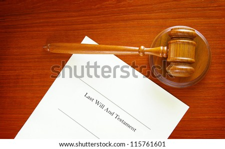 Last Will and Testament and a court gavel - stock photo