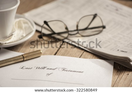 Last will and testament form  - stock photo