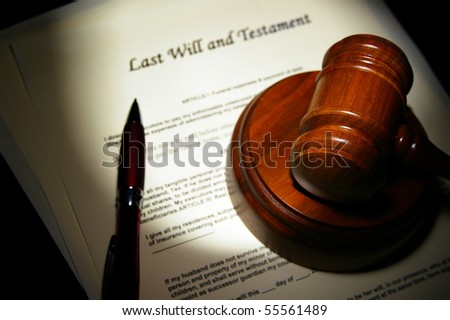 Last Will and Testament with legal gavel - stock photo