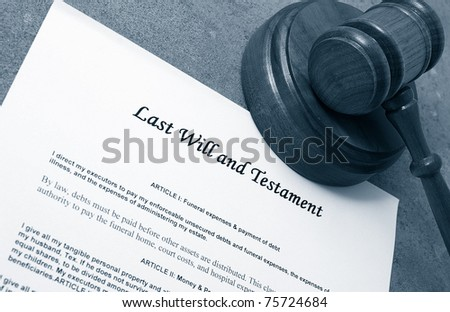 Last Will document and judge's legal gavel - stock photo