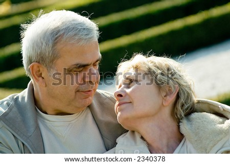Lasting affection. Elderly couple in love.