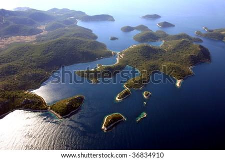 Lastovo islands in Croatia, Adriatic sea -aerial view - stock photo