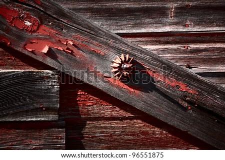 Latch on old granary - stock photo