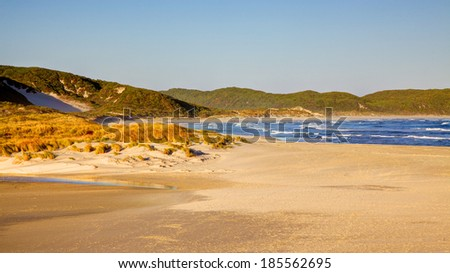 Late afternoon at Anvil Beach, near the town of Denmark in Western Australia. - stock photo