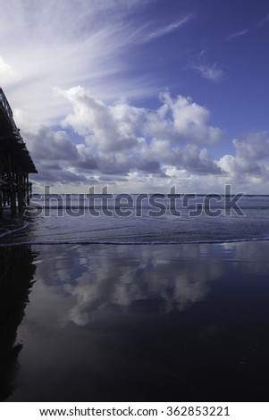 late afternoon at pacific beach pier - stock photo