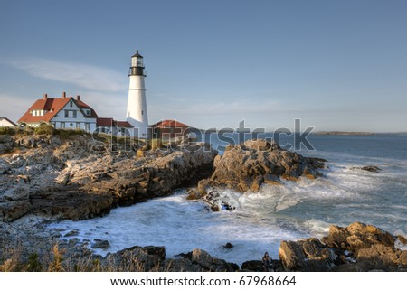 Late afternoon at Portland Head lighthouse - stock photo