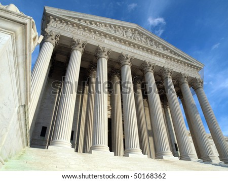 Late afternoon at the historic Supreme Court building in Washington DC. - stock photo