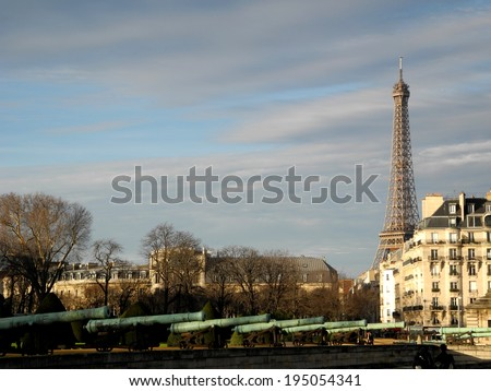 Late afternoon in Paris with Eiffel Tower on the background