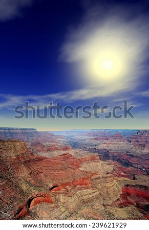 Late afternoon in the Grand Canyon Arizona - stock photo