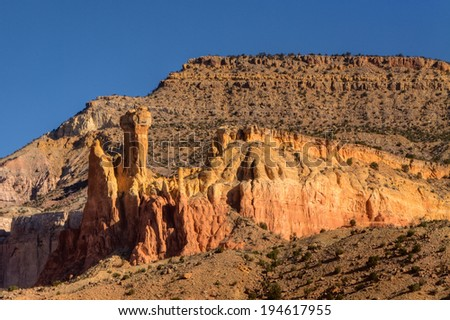 Late afternoon light on sandstone formation at Ghost Ranch, Abiquiu, New Mexico - stock photo