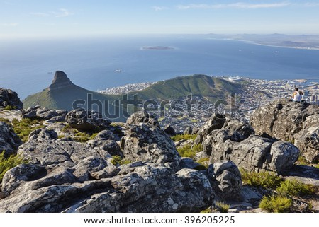 Late afternoon on Table Mountain, Cape Town, South Africa - stock photo