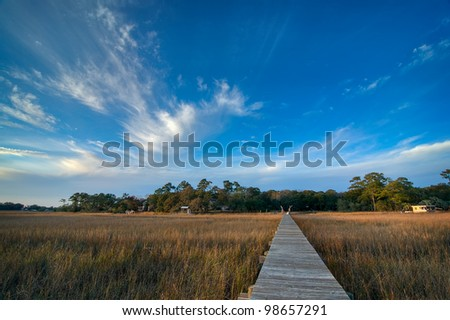 Late Afternoon Over the Marsh and Dock - South Carolina - stock photo