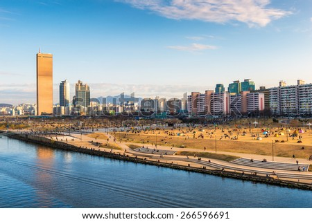 Late afternoon over Yeouido and the Han River Park in Seoul, South Korea. - stock photo