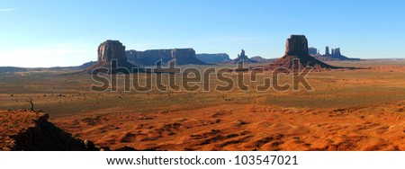 Late afternoon panorama of Monument Valley, Arizona, from Artists Point