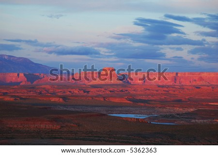 Late afternoon sun over Lake Powell, Utah - stock photo