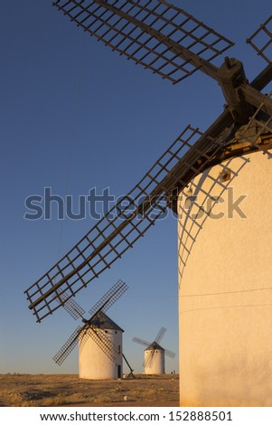 Late afternoon sunlight on the windmill in Campo de Criptana in the La Mancha region of central Spain.