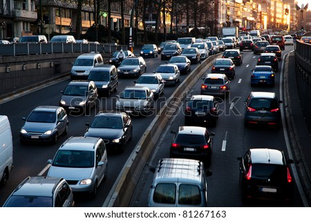 Late afternoon traffic. - stock photo