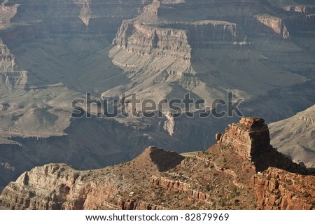 Late afternoon view across Grand Canyon from Hopi Point. - stock photo