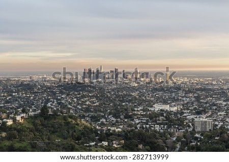 Late afternoon view of downtown Los Angeles from Griffith Park in Southern California. - stock photo
