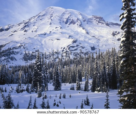 Late afternoon winter light on Mount Rainier; Mount Rainier National Park, Washington State - stock photo