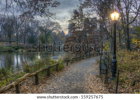 Late autumn in Central Park, New York City  - stock photo