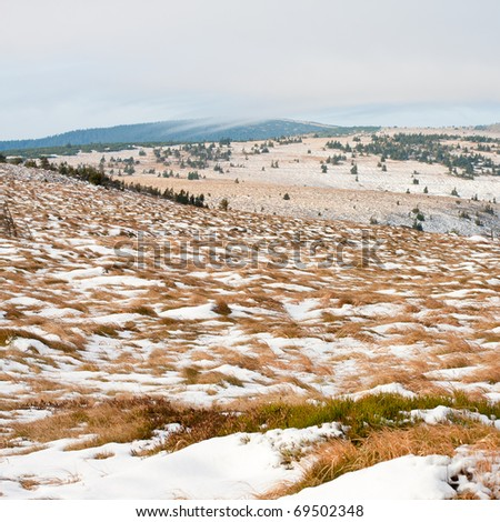Late autumn tundra landscape in the mountains - stock photo