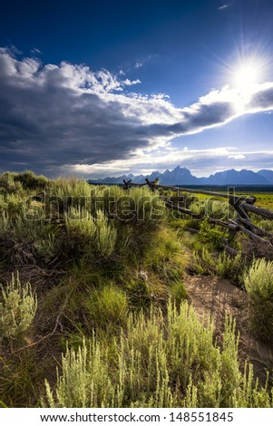 Late day summer shadows on the prairie of Grand Teton National Park, WY - stock photo