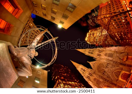 Late Evening at Rockefeller Center - stock photo