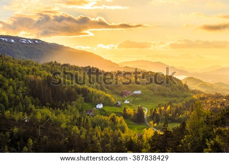 Late evening landscape in Norway.Norwegian sunset.Norwegian landscape.Norway landscape.Norway sunset.Norway countryside.Norway travel - stock photo