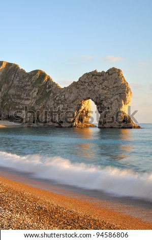 Late evening light at Durdle Door Lulworth Dorset England. - stock photo