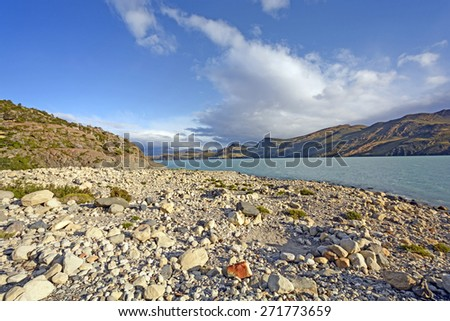 Late Evening Light on Lake Nordernskjold in Torres del Paine National Park in the Patagonian Andes of Chile - stock photo
