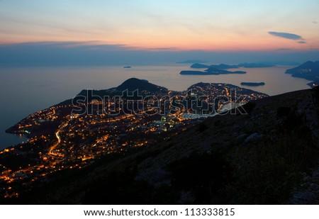 Late evening View Toward Dubrovnik and the Dalmatian coast in Croatia. - stock photo